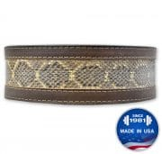 Longhorn™ Inset: Kodiak Oiled Leather with Genuine Snake Skin Lever Belt